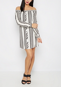 Striped Off-Shoulder Challis Dress