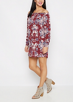 Floral Off-Shoulder Challis Dress