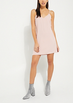 Pink Crepe Slip Dress