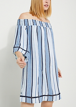Striped Off Shoulder Challis Dress