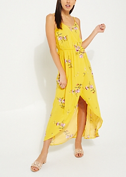 Mustard Floral Tulip Wrap Maxi Dress