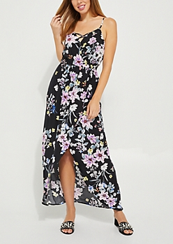 Black Floral Tulip Wrap Maxi Dress