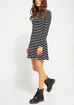 Black Long Sleeve Ribbed Knit Skater Dress