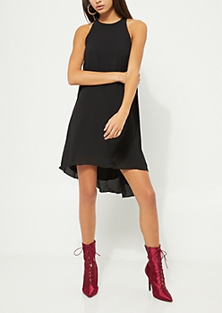 Black Halter Swing Dress