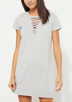 Gray Lace Up Sweatshirt Dress