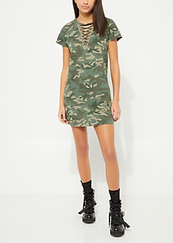 Camo Lace Up Sweatshirt Dress