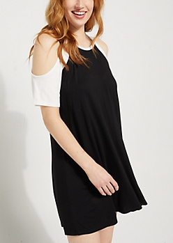 Black Raglan Cold Shoulder Swing Dress