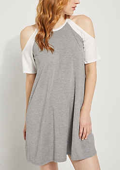 Gray Cold Shoulder Raglan T Shirt Dress