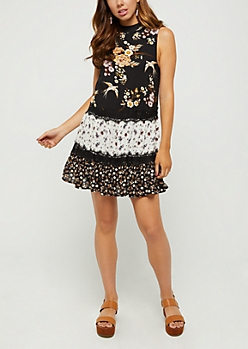 Mixed Floral High Neck Swing Dress