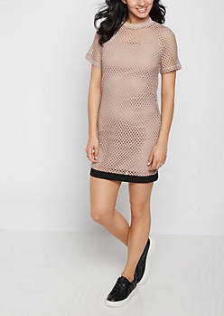 Pink Oversized Mesh T Shirt Dress