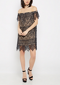 Black Vintage Lace Off-Shoulder Dress
