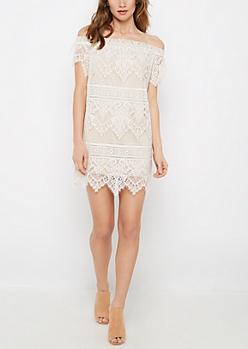 Ivory Vintage Lace Off-Shoulder Dress