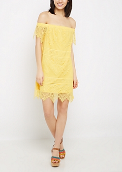 Yellow Vintage Lace Off-Shoulder Dress