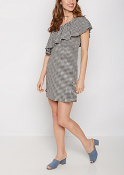 Gingham Flounce One-Shoulder Dress