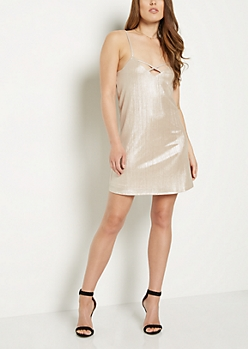 Caged Gold Lame Ribbed Cami Dress