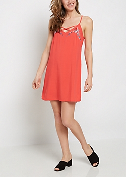 Red Floral Embroidered Lattice Dress