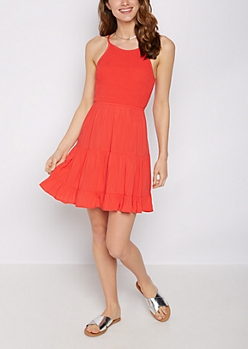 Red Smocked Ruffle Hem Dress