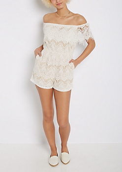 Ivory Lace Off-Shoulder Romper