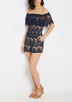 Navy Lace Off-Shoulder Romper