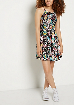 Floral Smocked Ruffle Hem Dress