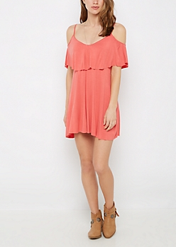 Coral Flounce Cami Swing Dress