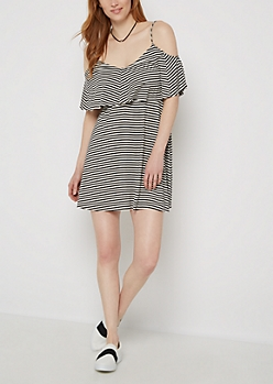 Ruffled & Striped Cold Shoulder Dress