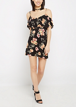 Watercolor Floral Flounce Cold Shoulder Dress