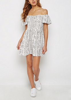 Folklore Foiled Off Shoulder Dress