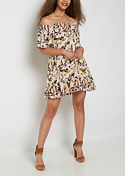 Wildflower Off Shoulder Swing Dress