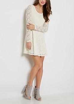 Ivory Lace Long Sleeve Skater Dress
