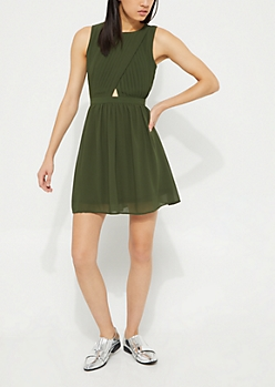 Olive Pleated Surplice Dress