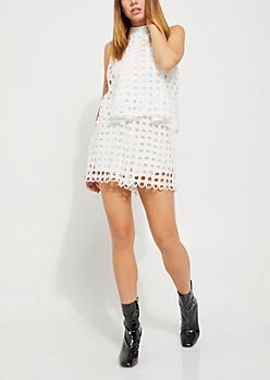 White Rounded Crochet Flounced Romper