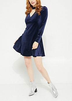 Navy Long Sleeve Keyhole Cutout Velvet Skater Dress