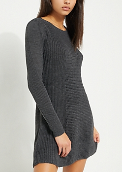 Charcoal Gray Scoop Neck Skater Sweater Dress