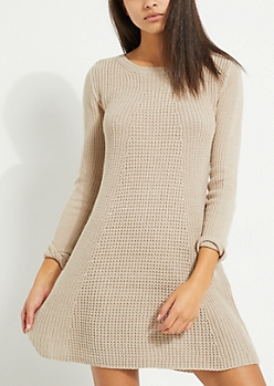 Taupe Scoop Neck Skater Sweater Dress
