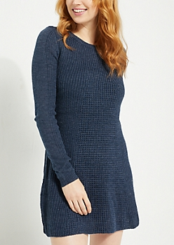 Navy Scoop Neck Skater Sweater Dress