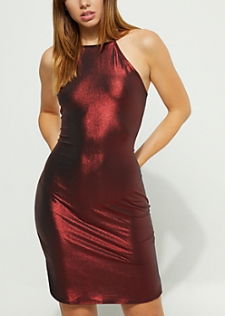 Burgundy Metallic High Neck Mini Dress