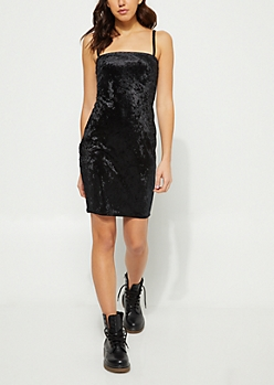 Black Crushed Velvet Cami Dress