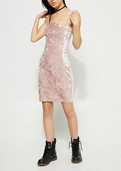 Pink Crushed Velvet Cami Dress