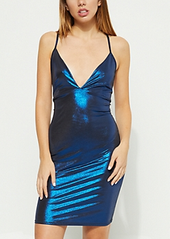 Royal Blue Metallic Cross Back Dress