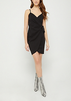 Black Knotted Wrap Dress