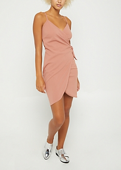 Pink Knotted Wrap Dress