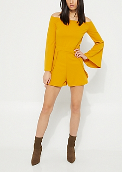 Mustard Envelope Off Shoulder Romper