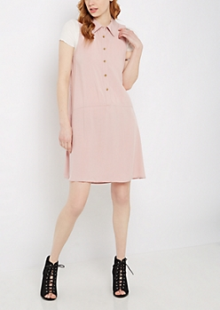 Pink Sleeveless Shirt Dress by Sadie Robertson x Wild Blue