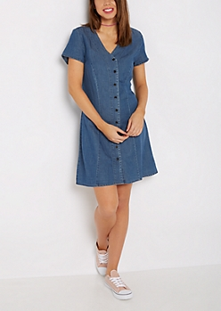Baseball Cut Chambray Dress by Sadie Robertson x Wild Blue
