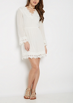 Embroidered Floral Trim Dress by Sadie Robertson x Wild Blue