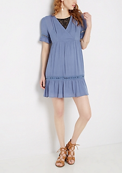 Crochet Trimmed Surplice Babydoll Dress