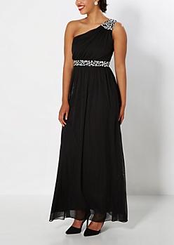 Black Stone Shimmer Goddess Formal Dress