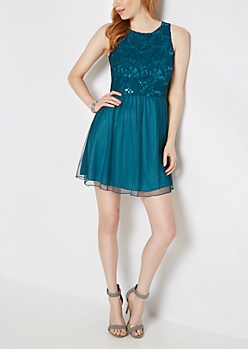 Teal Lace Shimmer Mini Dress