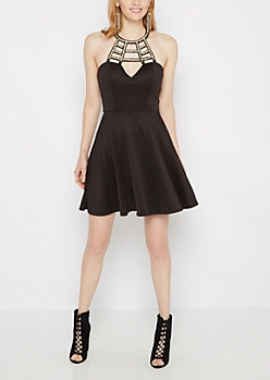 Metallic Caged High Neck Skater Dress